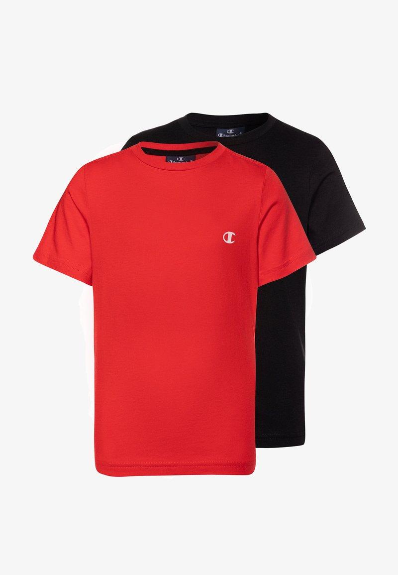 Champion - LEGACY BASICS CREW NECK 2 PACK UNISEX - T-shirt basic - heritage red/new black