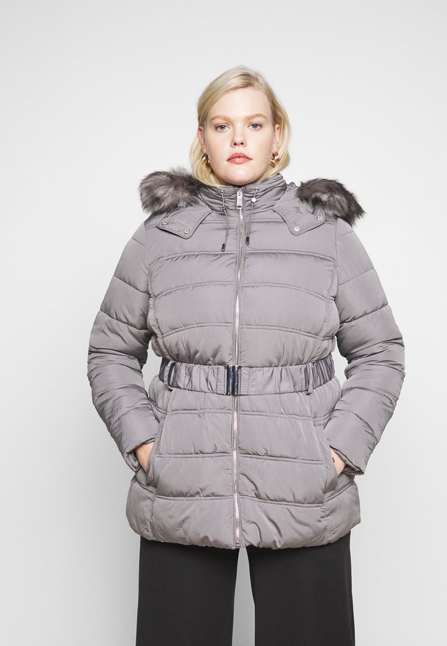 ELLIE BELTED FITTED PUFFER - Winterjas - mid grey