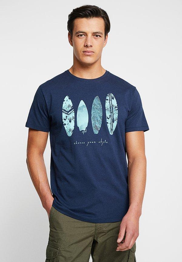 Esprit FEATHER - T-shirt z nadrukiem - navy/granatowy Odzież Męska JHLQ