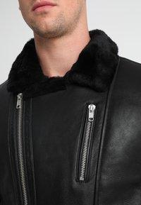 Serge Pariente - ROCKER DOUBLE FACE - Kožená bunda - black - 3