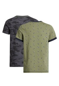 WE Fashion - 2-PACK - Print T-shirt - khaki/grey - 1