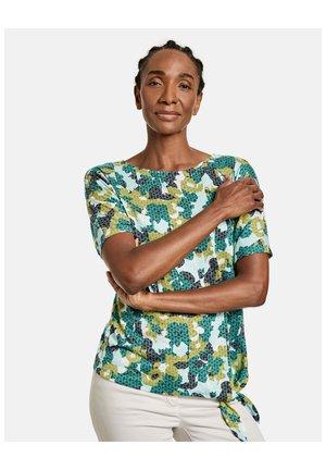ARM SHIRT MIT BINDEDETAIL - Print T-shirt - grün/blau druck