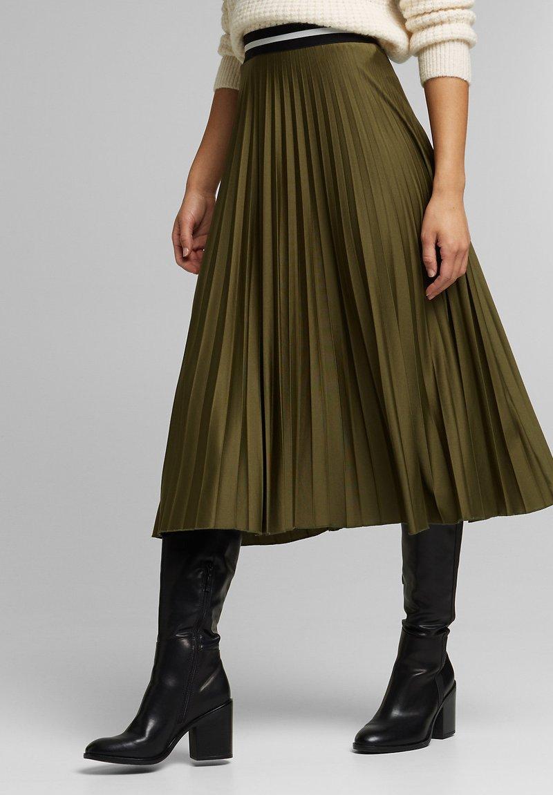 Esprit - MIT ELASTIK-BUND - A-line skirt - khaki green
