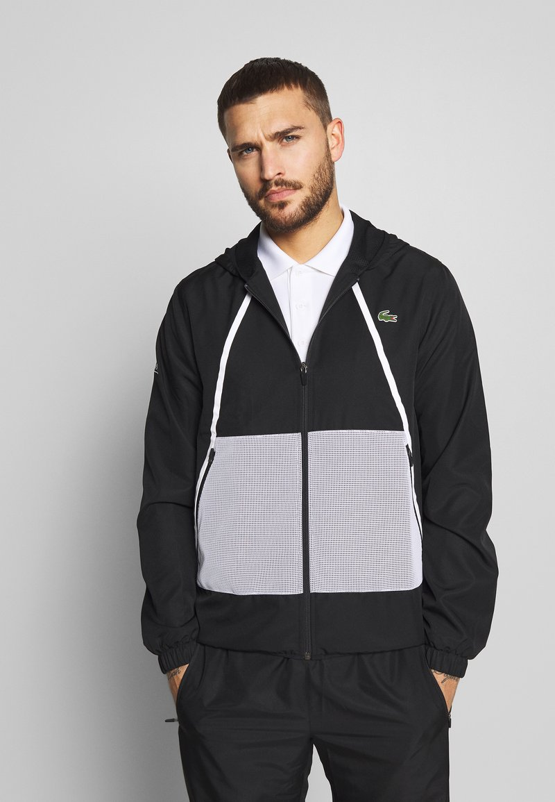 Lacoste Sport - TRACKSUIT HOODED - Tracksuit - black/white