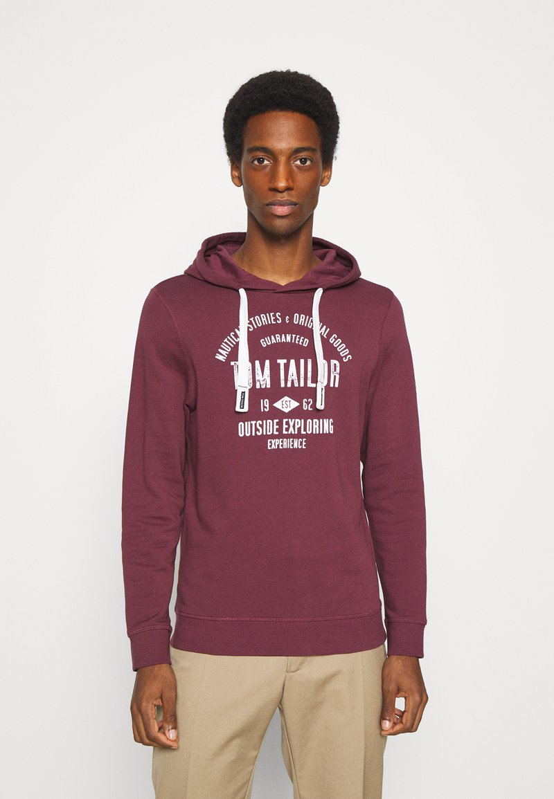 TOM TAILOR - HOODIE WITH PRINT - Hoodie - dusty wildberry red