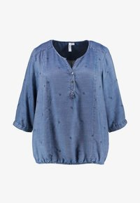 Ciso - EMBROIDERED BLOUSE ELASTICATED HEM - Bluse - denim blue - 4