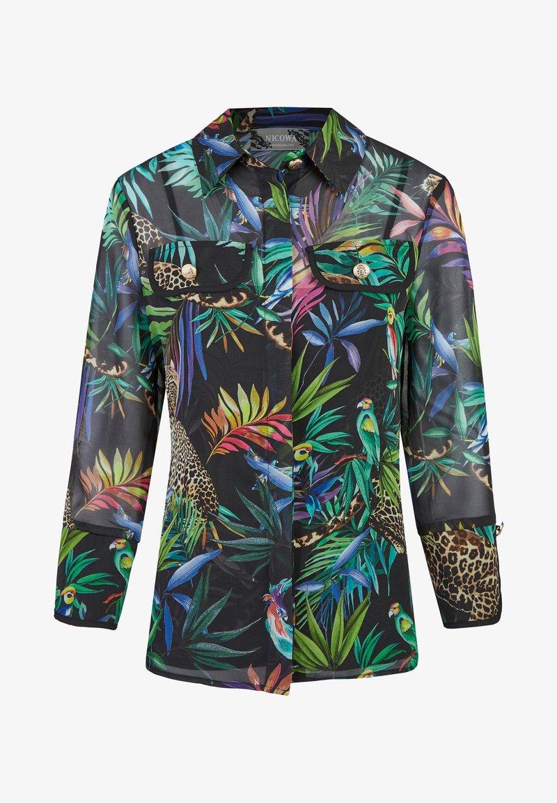 Nicowa - GIUNGLIO - Button-down blouse - schwarz