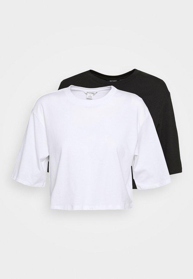 ELINA TOP 2 PACK - Jednoduché triko - black/white