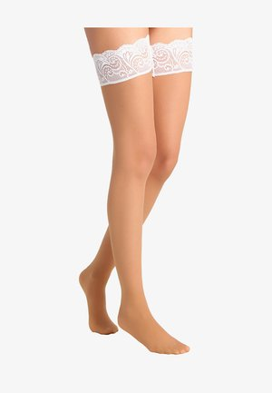 FALKE MATT DELUXE 20 DENIER STAY UPS TRANSPARENT MATT - Overknee-strømper - powder/champagne