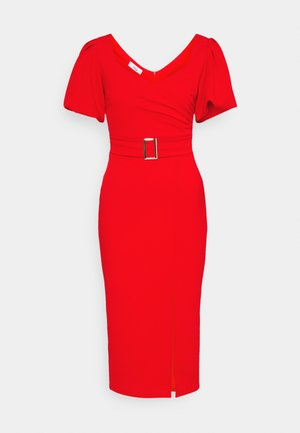 EMMA BUCKLE MIDI DRESS - Robe en jersey - red