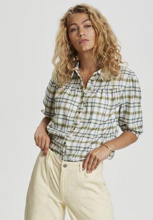 Button-down blouse - oil green check