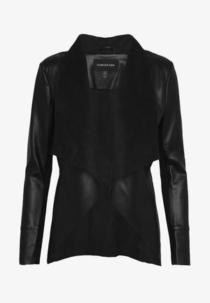 HANNAH WATERFALL - Faux leather jacket - black