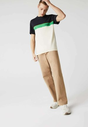 Print T-shirt - bleu marine/beige/vert
