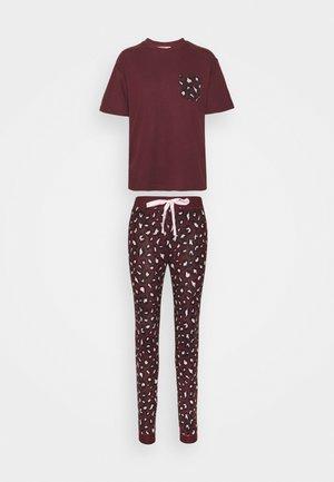 LEOPARD TEE AND LEGGING - Pyjamas - burgundy