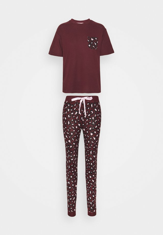 LEOPARD TEE AND LEGGING - Pijama - burgundy
