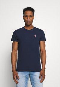 REVOLUTION - REGULAR - Basic T-shirt - navy melange - 0
