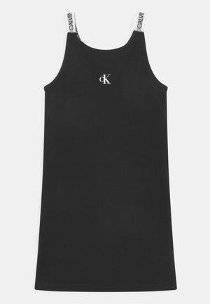 LOGO TAPE STRAP - Jersey dress - black