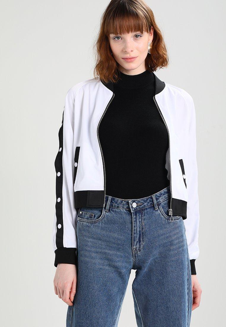 Urban Classics - LADIES BUTTON UP TRACK JACKET - Bomber Jacket - white/black/white