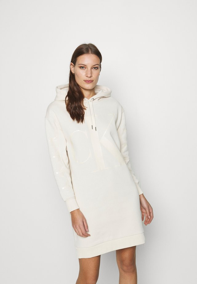 ECO LOGO HOODIE DRESS - Day dress - soft cream
