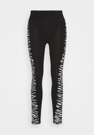 HIGH WAIST ZEBRA PLACED PRINT - Leggings - white