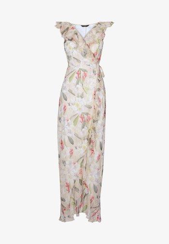 ABBEY CLANCY X PRINTED RUFFLE MAXI DRESS
