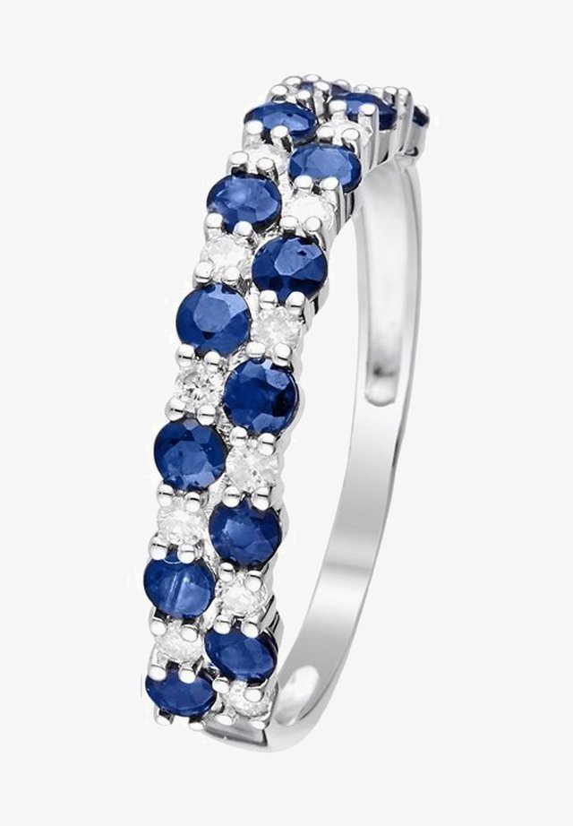 WHITE GOLD RING 9K CERTIFIED 14 SAPPHIRES 1.4 CT AND 14 DIAMONDS HP1 0.21 CT - Ring - silver