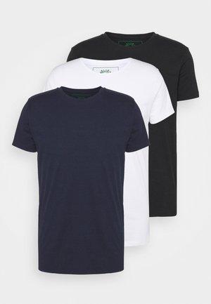 ELON  3PACK - T-shirt basic - navy/white/black