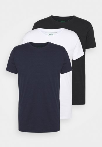 ELON  3PACK - Basic T-shirt - navy/white/black