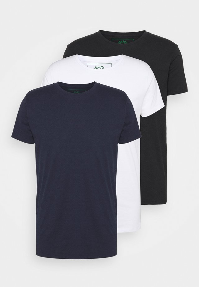 ELON  3PACK - T-paita - navy/white/black