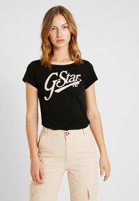 G-Star - GRAPHIC LOGO SLIM - Camiseta estampada - black - 0