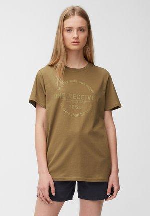 Print T-shirt - brown ochre