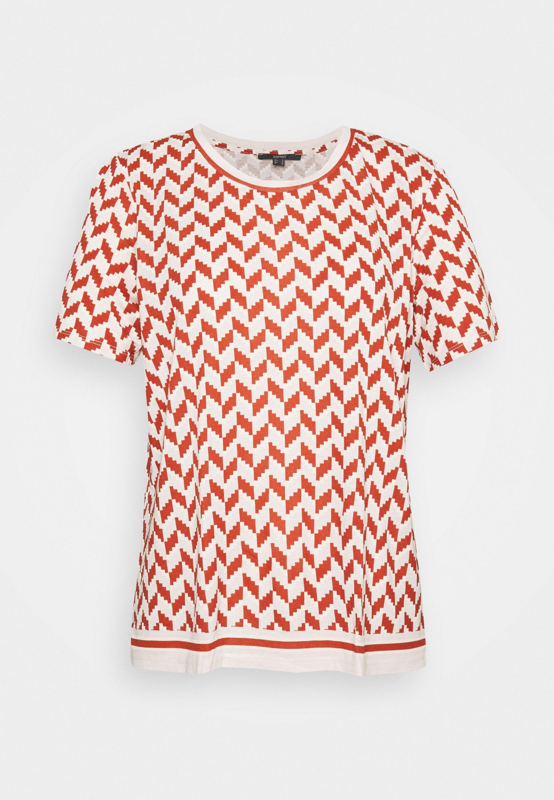 Damen GRAPHIC PRINT CONTRAST STRIPE - T-Shirt print - terracotta