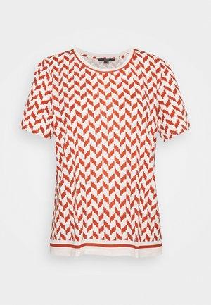 GRAPHIC PRINT CONTRAST STRIPE - T-shirt print - terracotta