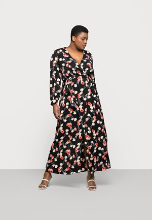 PLUNGE DRESS FLORAL - Day dress - red