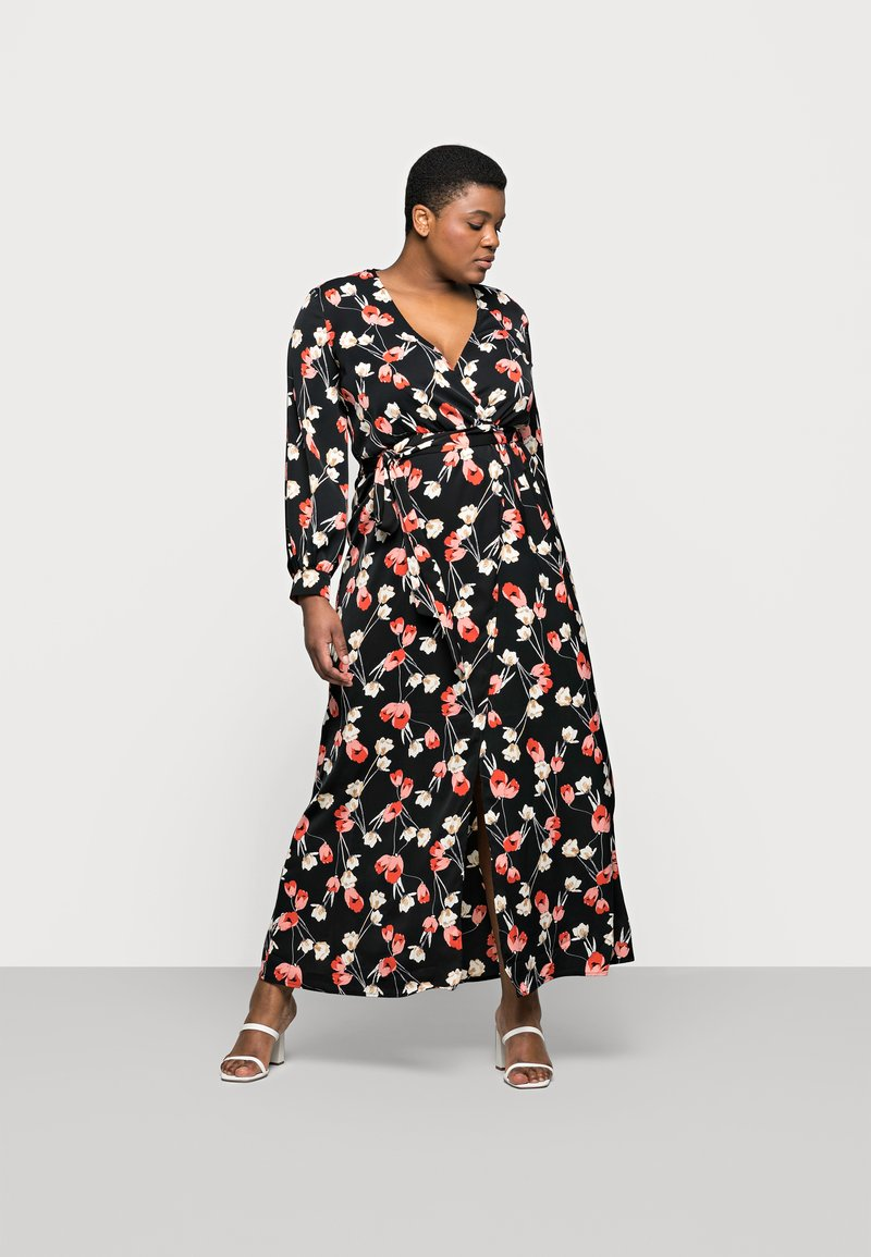 Missguided Plus - PLUNGE DRESS FLORAL - Day dress - red
