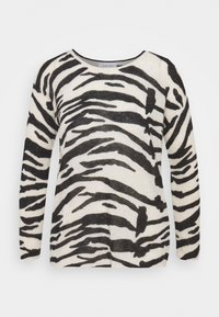 Calvin Klein - BLEND ZEBRA SWEATER - Jumper - black / white - 0