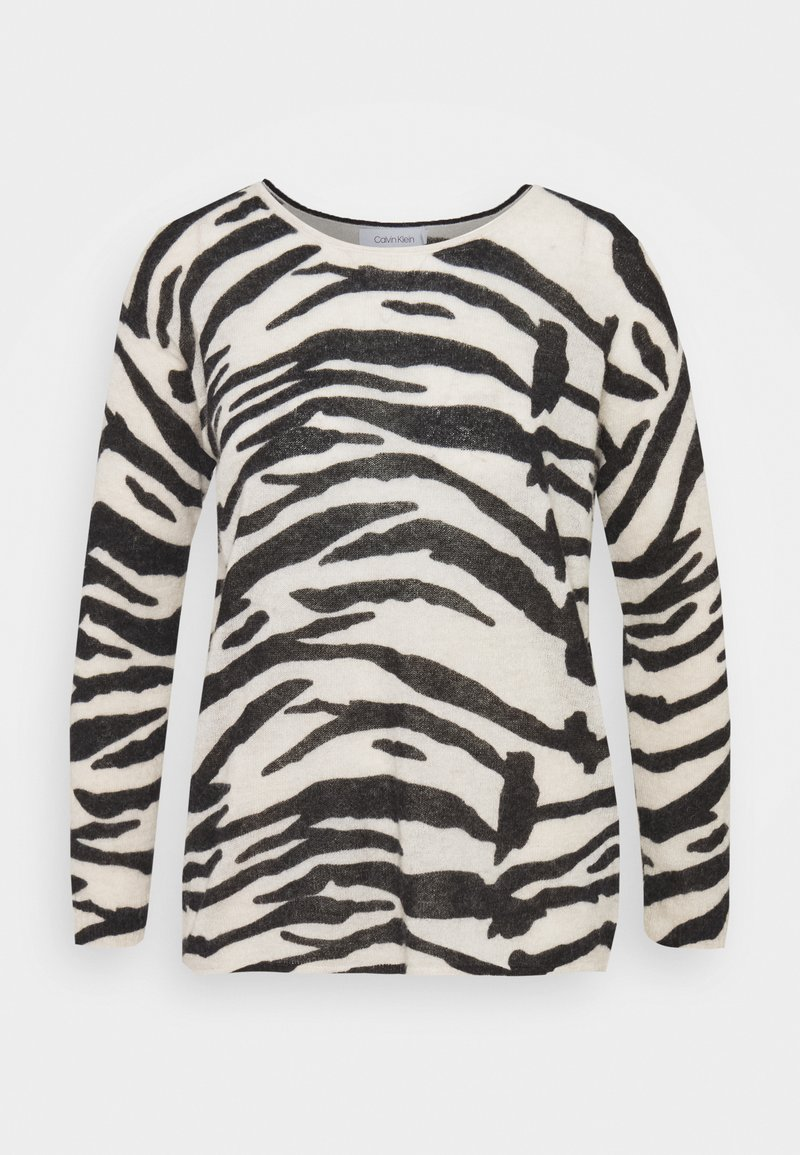 Calvin Klein - BLEND ZEBRA SWEATER - Jumper - black / white