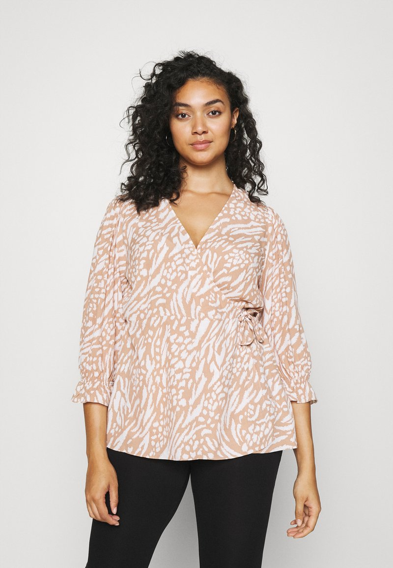 Forever New Curve - MARGOT CURVE PUFF SLEEVE WRAP - Blouse - natural mixed