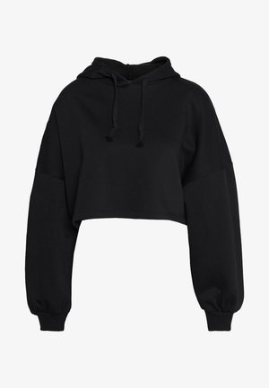 BASIC CROPPED HOOD - Luvtröja - black