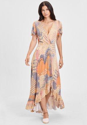 Maxi dress - orange-blau-bedruckt