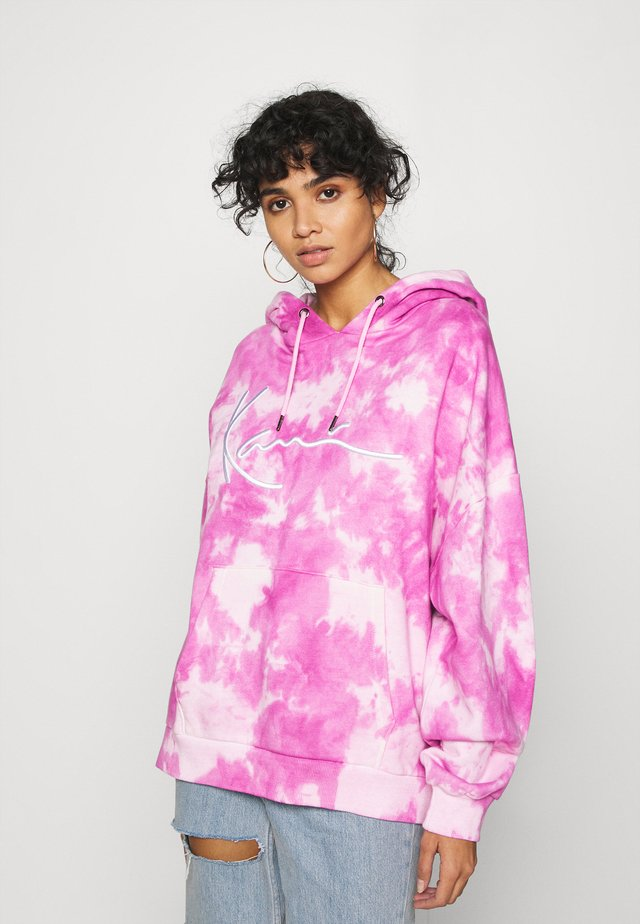 SIGNATURE TIE DYE HOODIE - Mikina s kapucí - pink