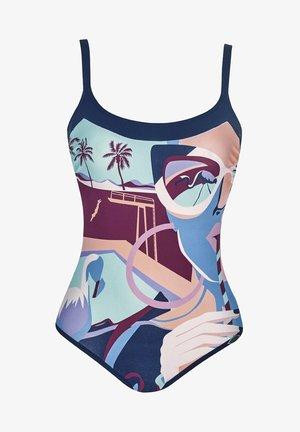 MIAMI POOL - Swimsuit - dark blue, multi-coloured