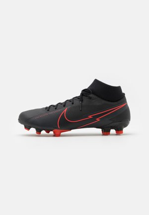MERCURIAL 7 ACADEMY FG/MG - Moulded stud football boots - black/dark smoke grey