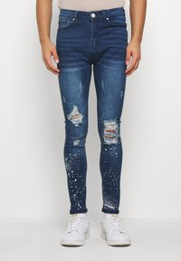 Good For Nothing - RIPPED WITH PAINT SPLATTER - Skinny džíny - blue - 0