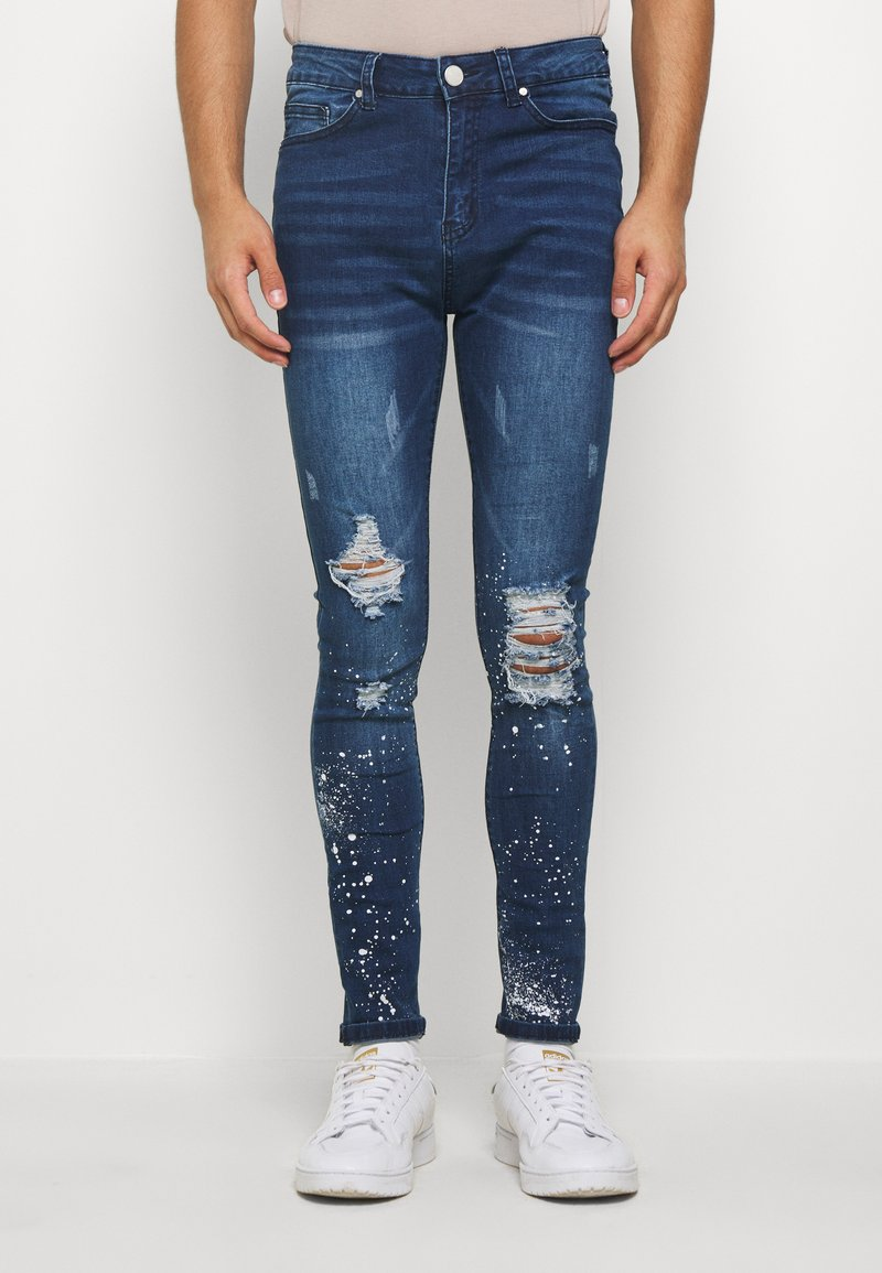 Good For Nothing - RIPPED WITH PAINT SPLATTER - Skinny džíny - blue