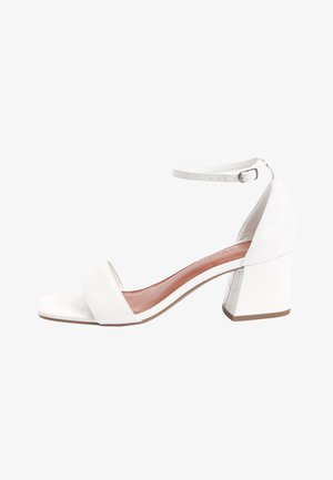 METALLIC REGULAR/WIDE FIT FOREVER COMFORT® SIMPLE BLOCK HEEL SA - Sandały - white