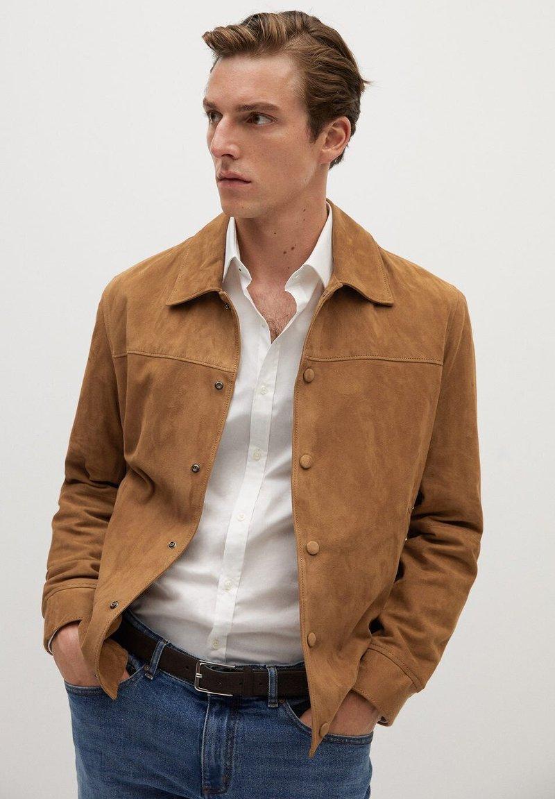 Mango - BONE-I - Leather jacket - beige