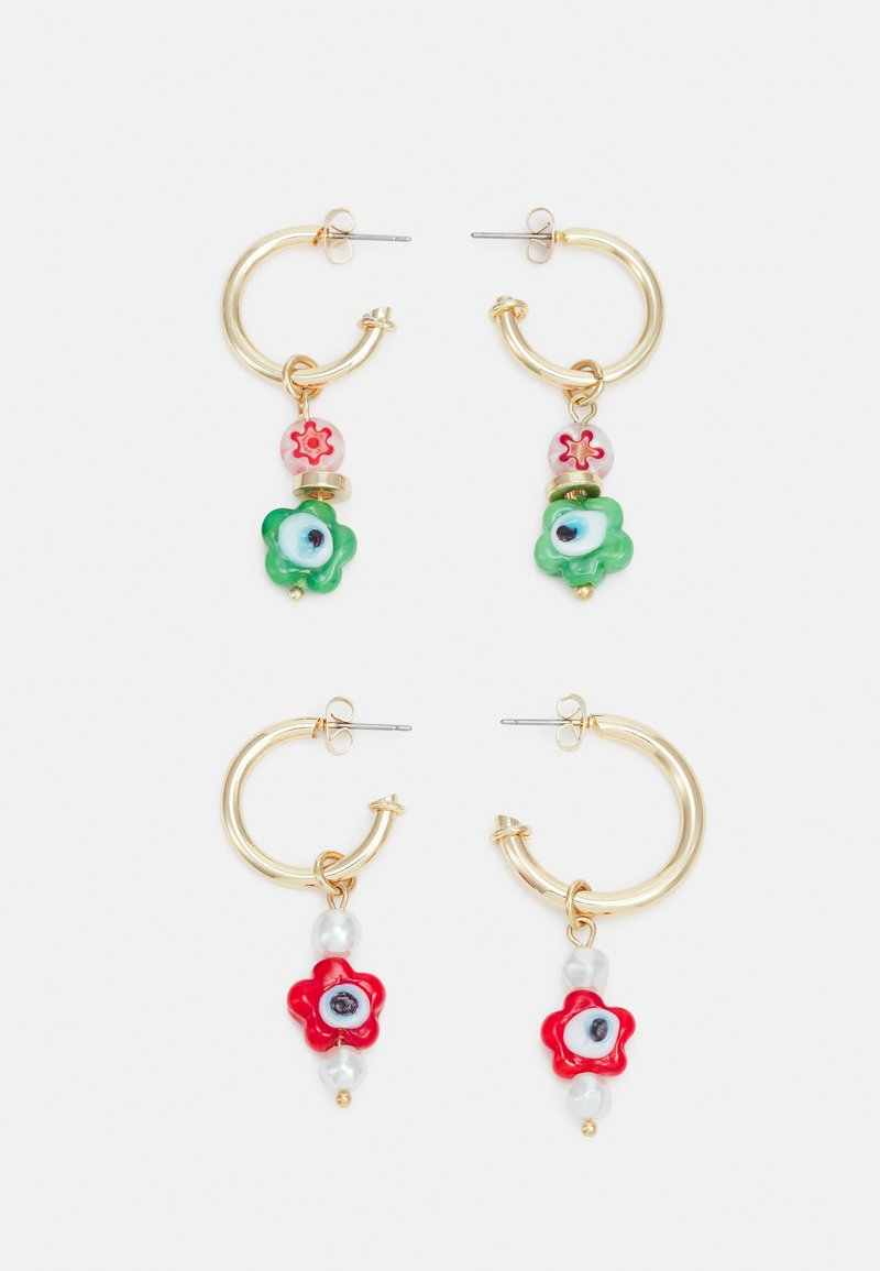 Pieces - PCFLOWINA EARRINGS 2 PACK - Earrings - gold coloured/green