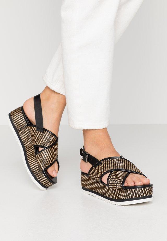 Sandalen met plateauzool - noir