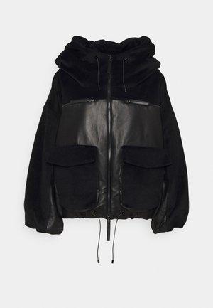 HOODED JACKET - Leather jacket - corin/black